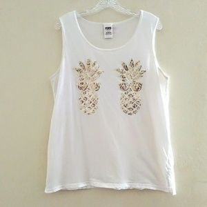 VS PINK Bling Pineapple Campus Tank Size Large